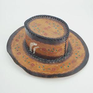 Vintage Leather Etched Rose Bolero Hat Western